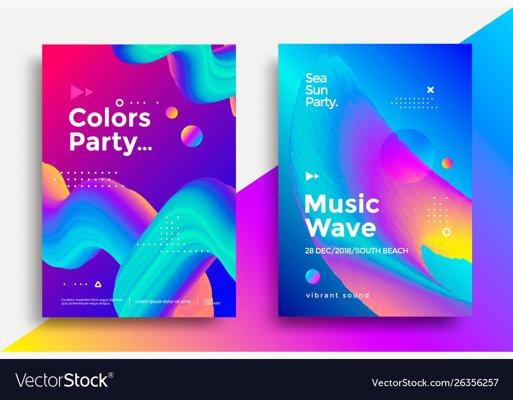Music wave party poster design