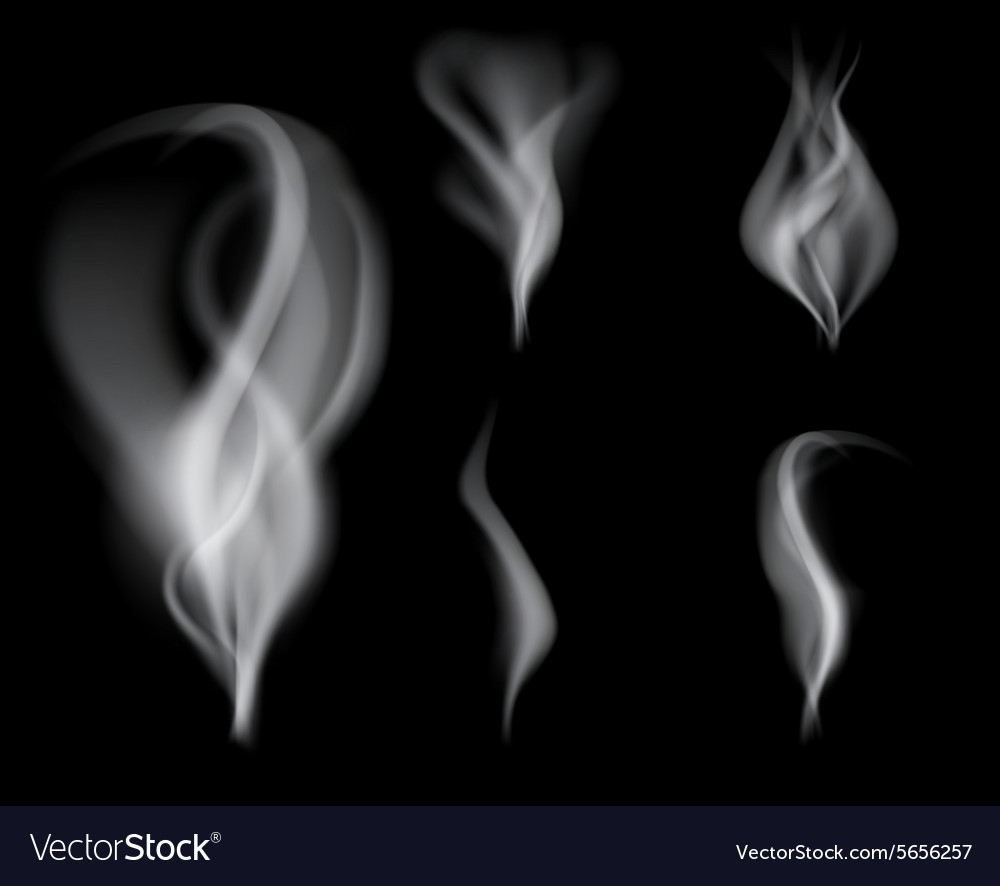 Realistic smoke on black background