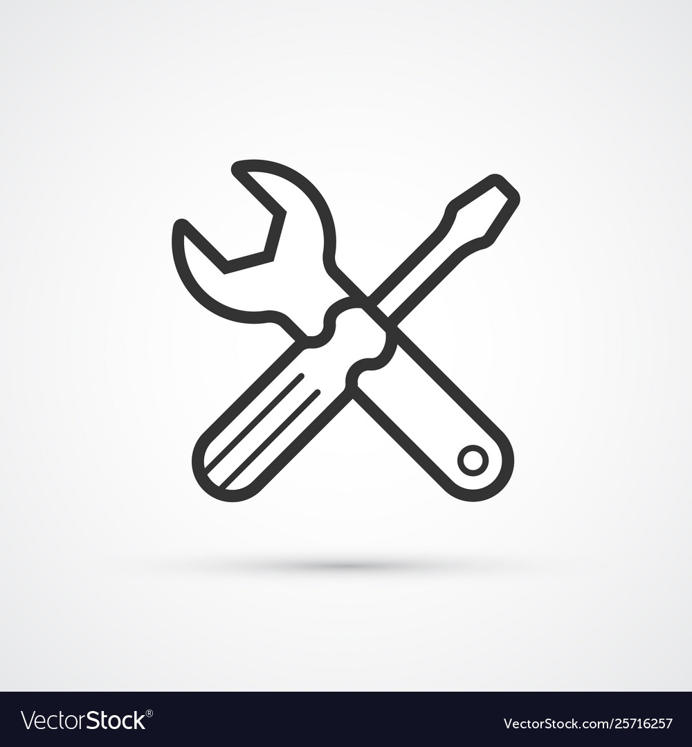 Screwdriver and spanner flat line icon eps 10
