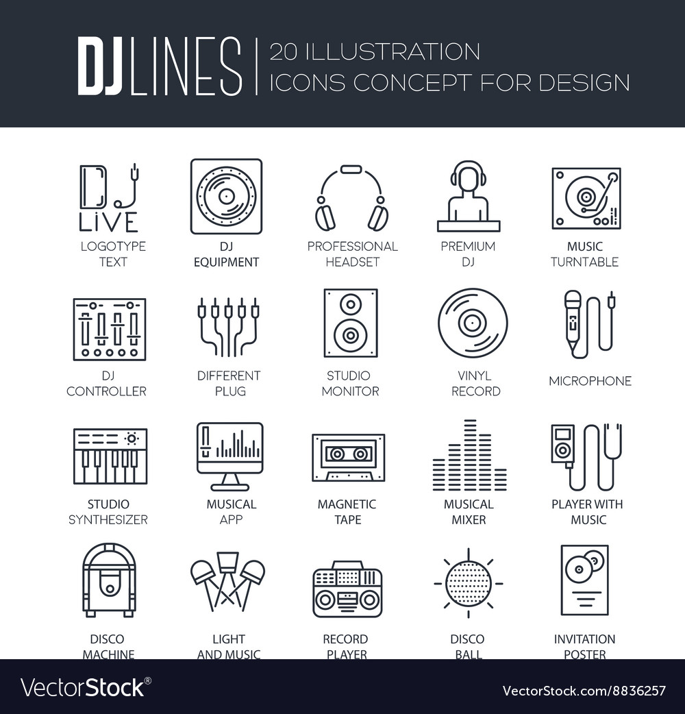 Thin lines icons of Dj staff and any equipment set