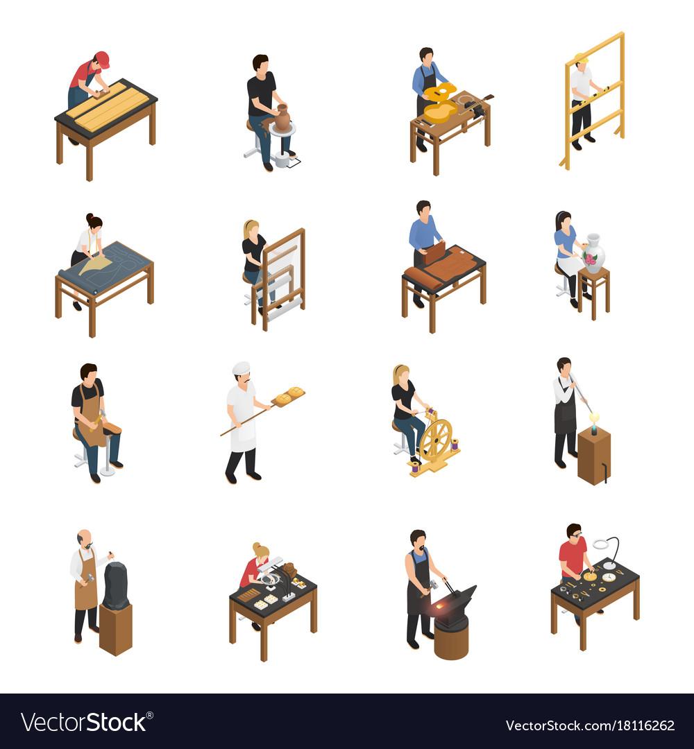 Artisan people isometric set