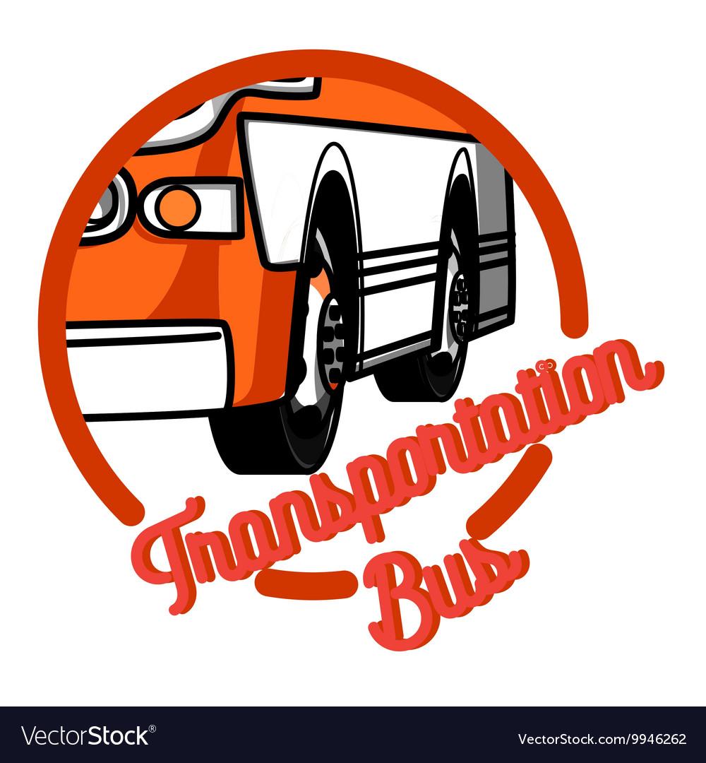 Color vintage bus transportation emblem