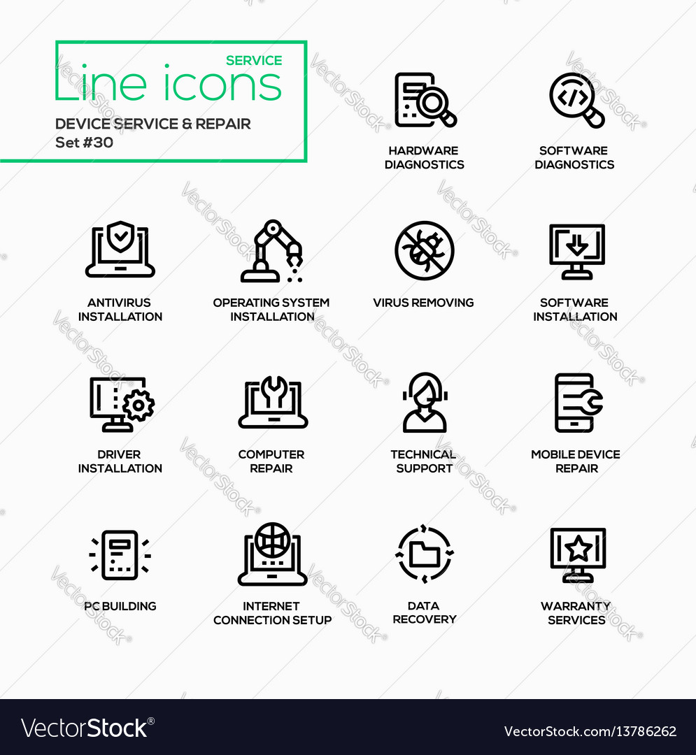 Device service repair - modern single line vector image