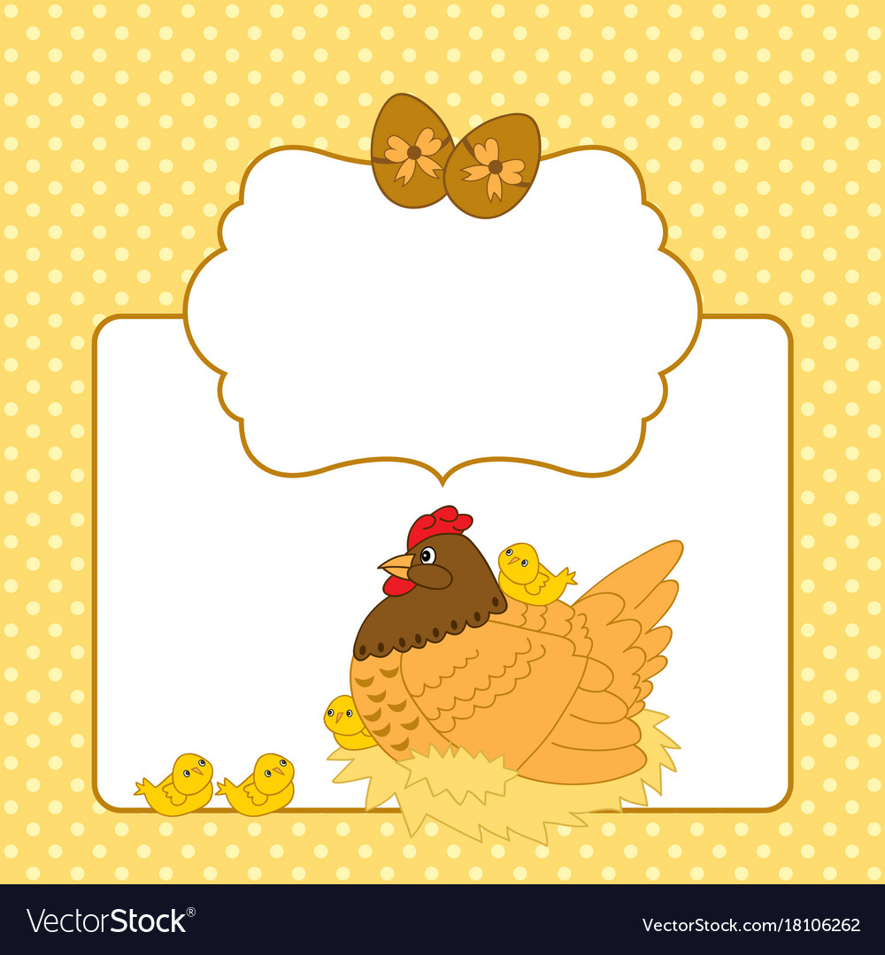 Easter Card Template With Hen And Chickens Vector Image