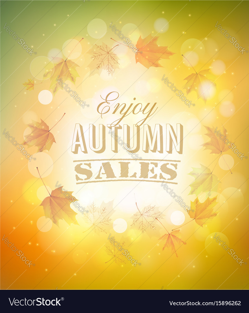 Enjoy autumn sales background with autumn leaves