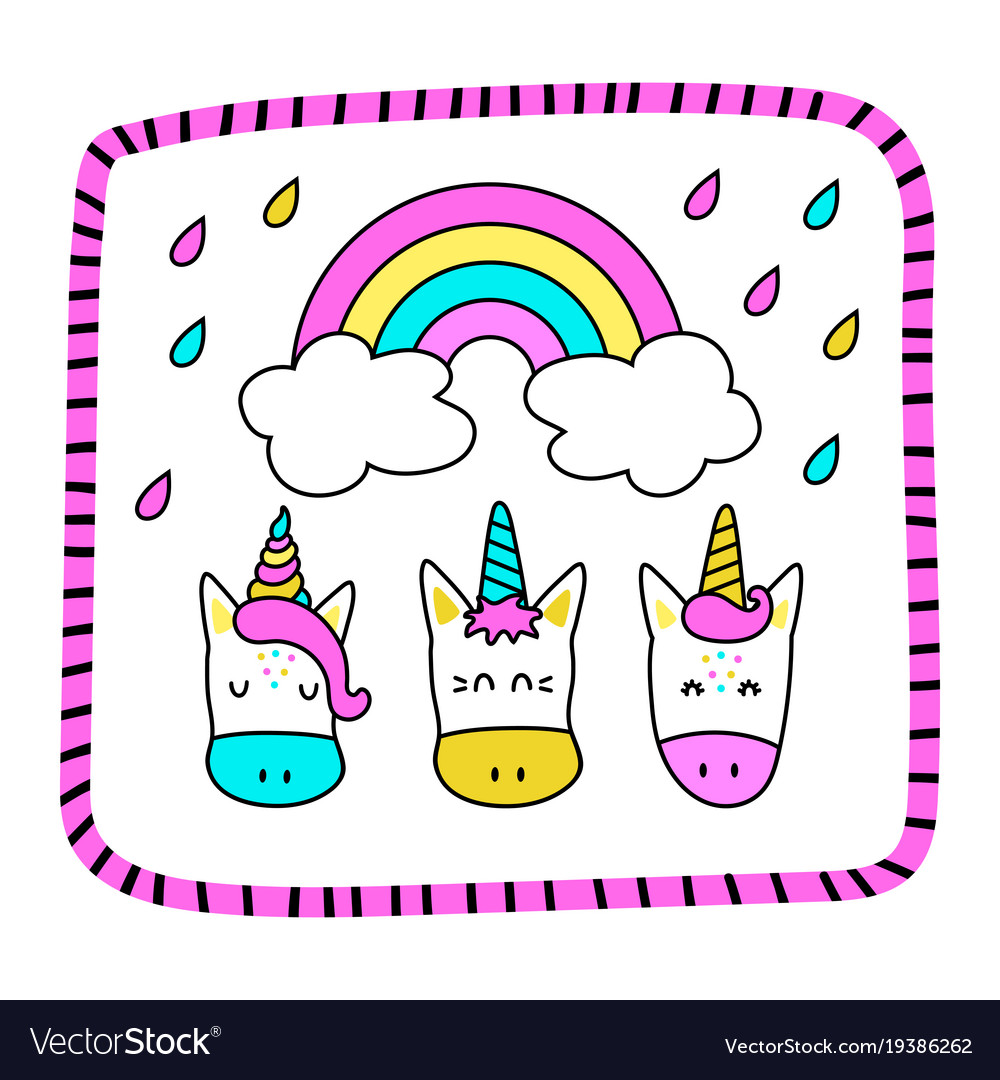 Greeting card with funny unicorns and a rainbow vector image m4hsunfo