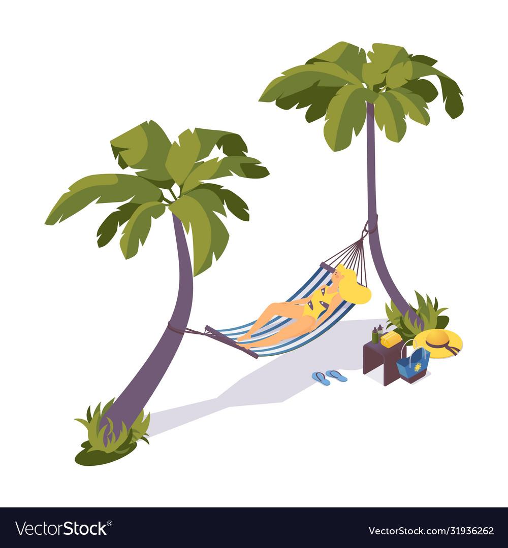 Isometric sunbathing girl on a hammock under palm