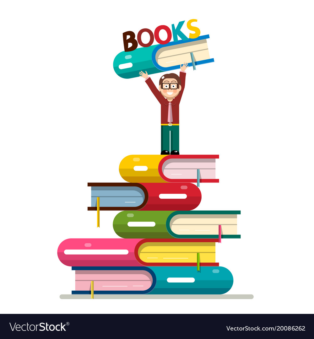 Man holding book above head on books pile