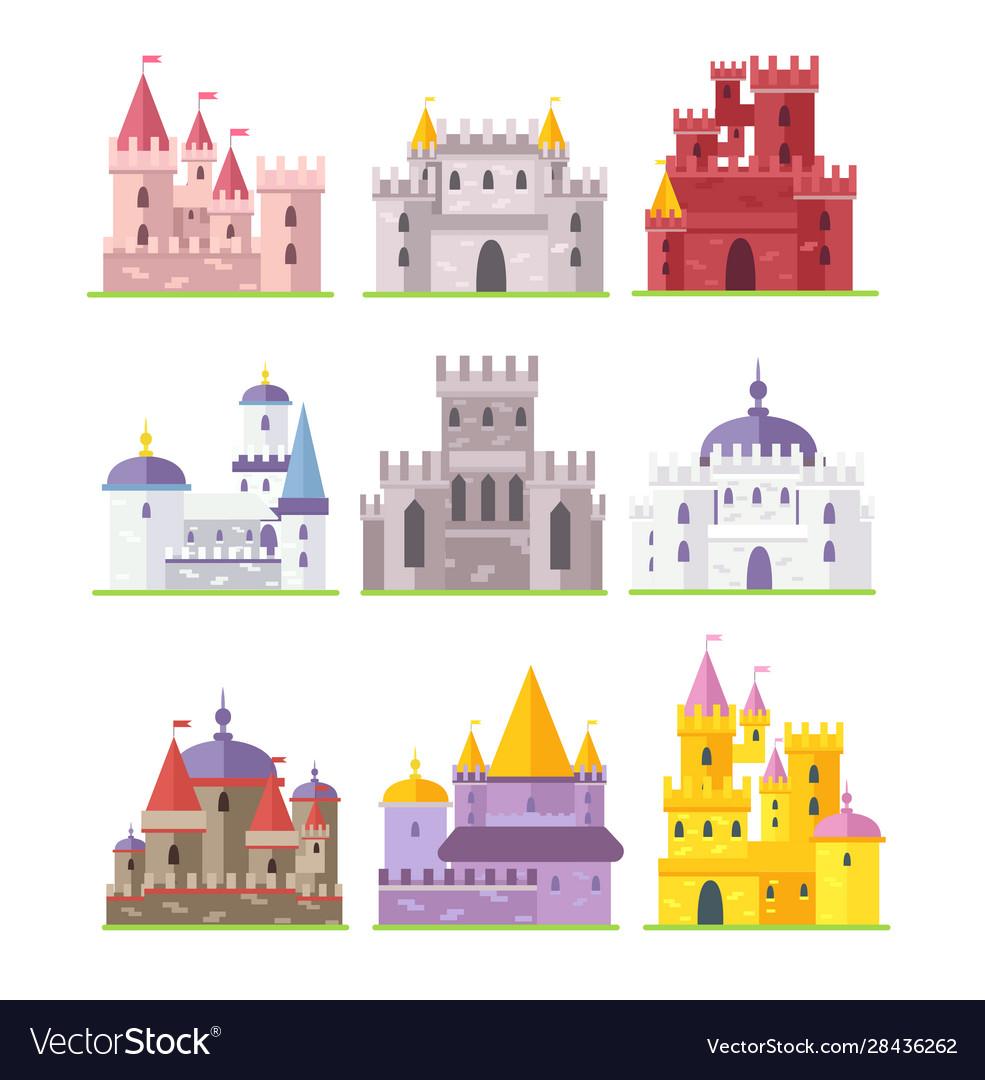 Medieval castles flat set