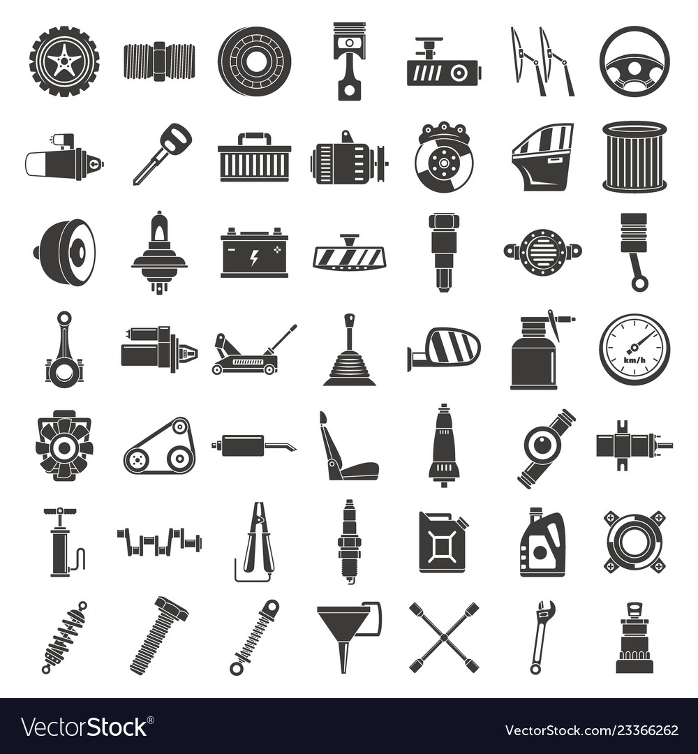 Motor car part icon set simple style