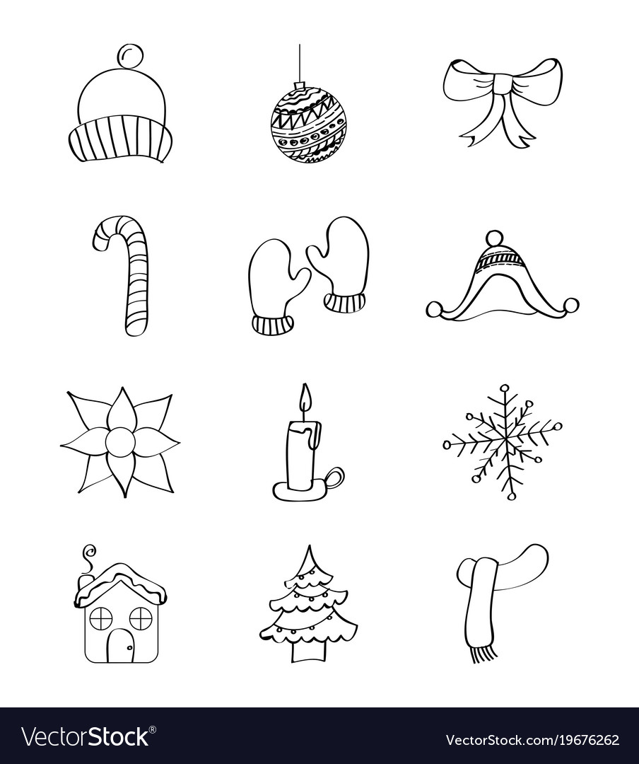 Outlined icons decoration winter season