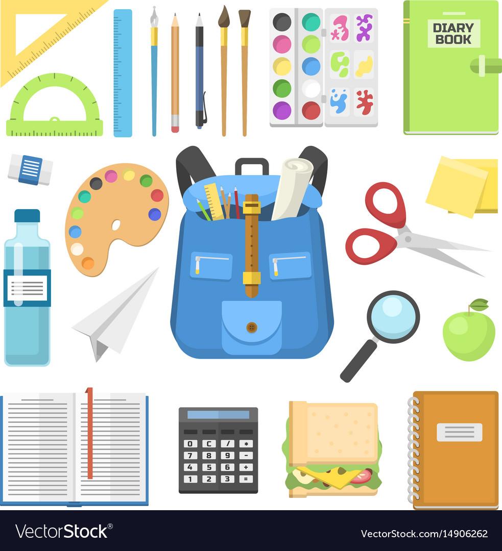 School bag backpack full of supplies children vector image