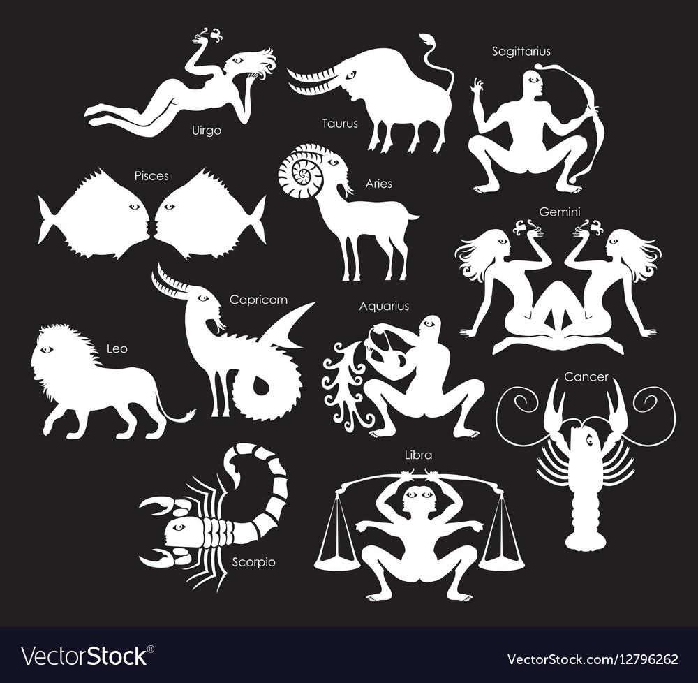 Set of zodiac signs vector image