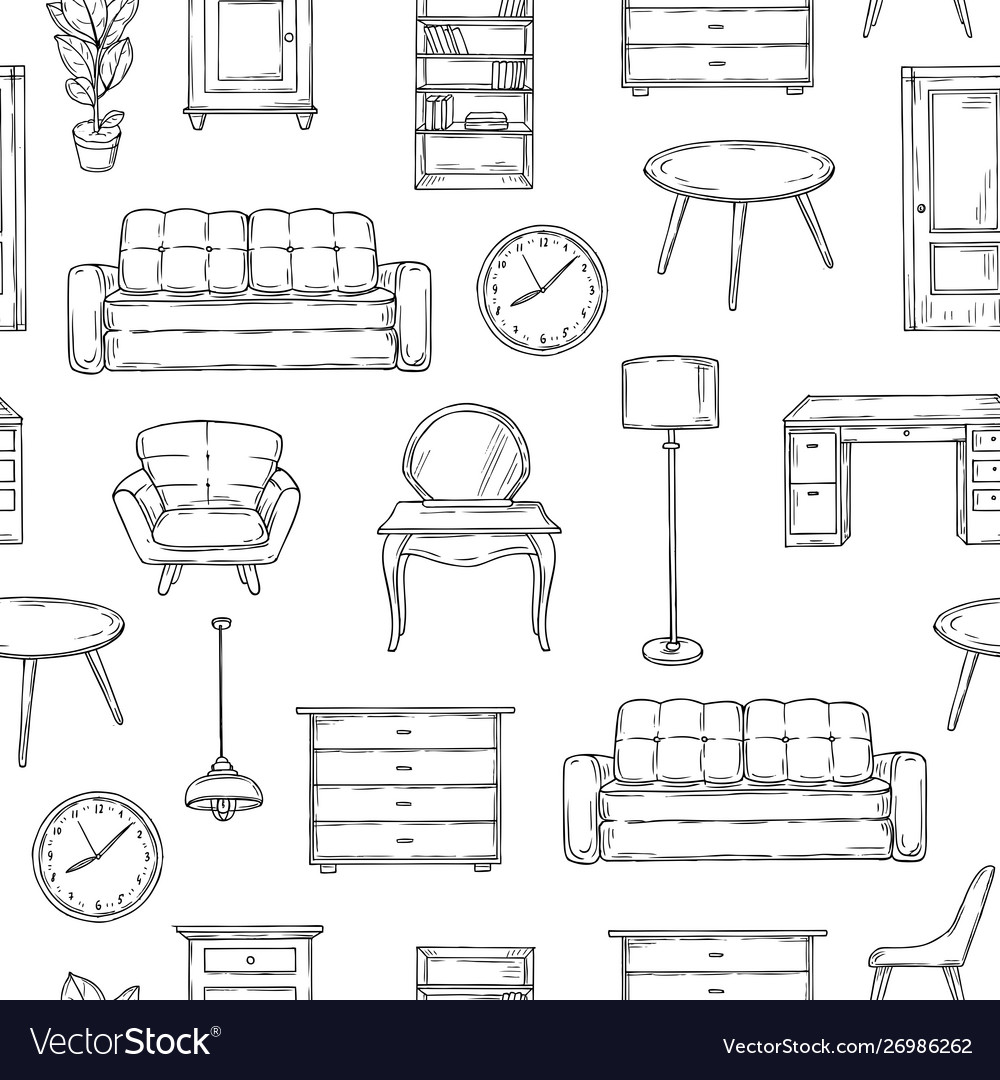 Sketch furniture pattern living room doodle