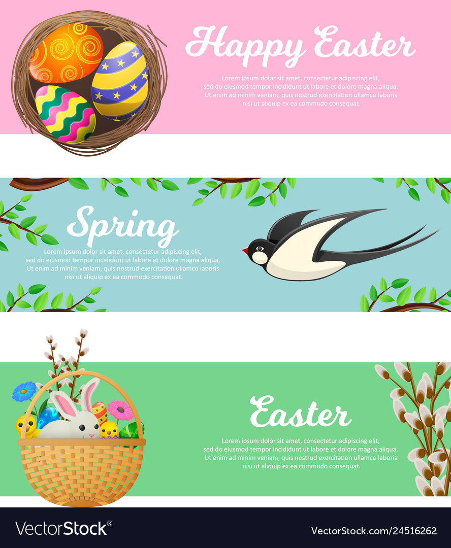 Spring and happy easter web banners set