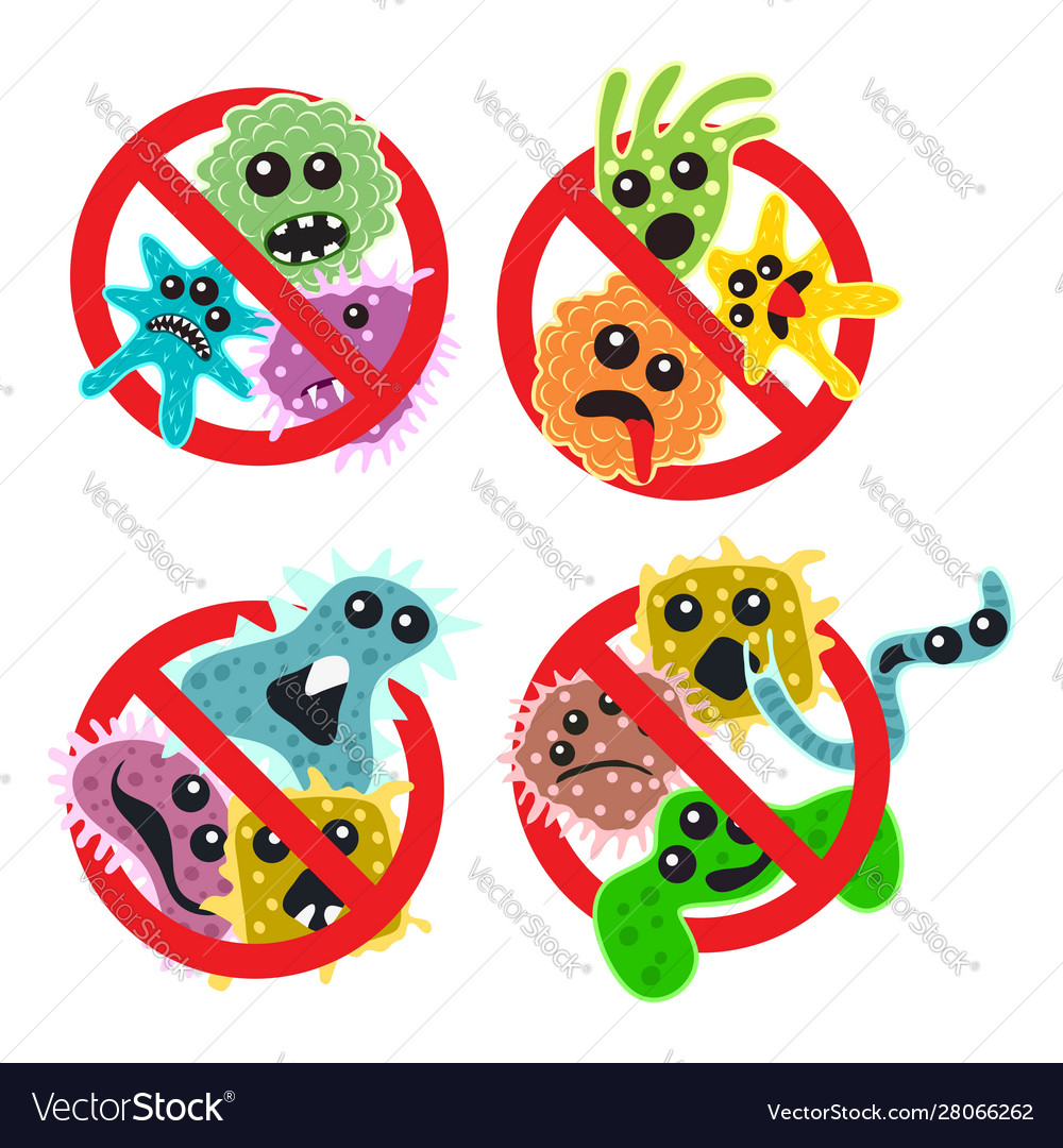 Stop bacteria icons