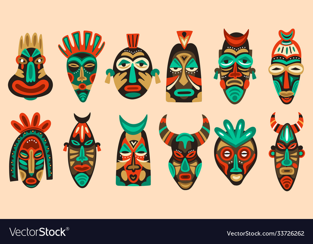 Traditional tribal masks ritual african