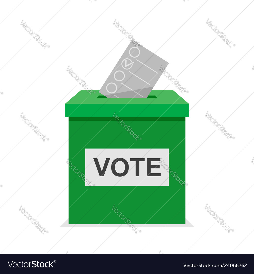 Vote bulletin ith green vote box election and