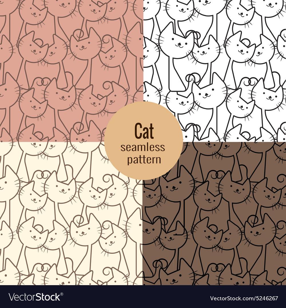 Cat seamless patterns set