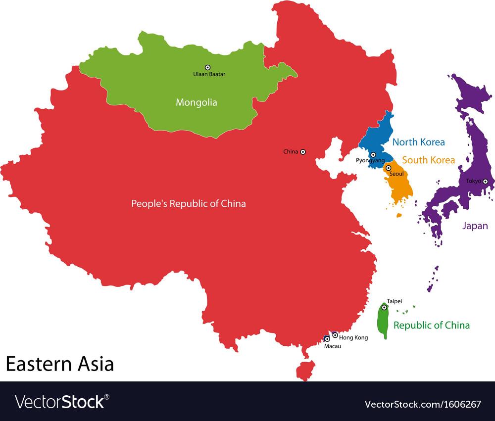 Korea Asia Map.Eastern Asia Map Royalty Free Vector Image Vectorstock