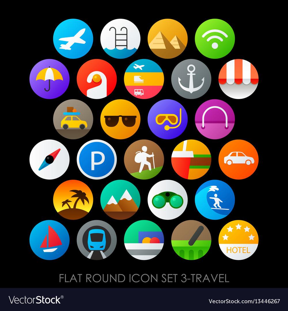 Flat round icon set 3-travel