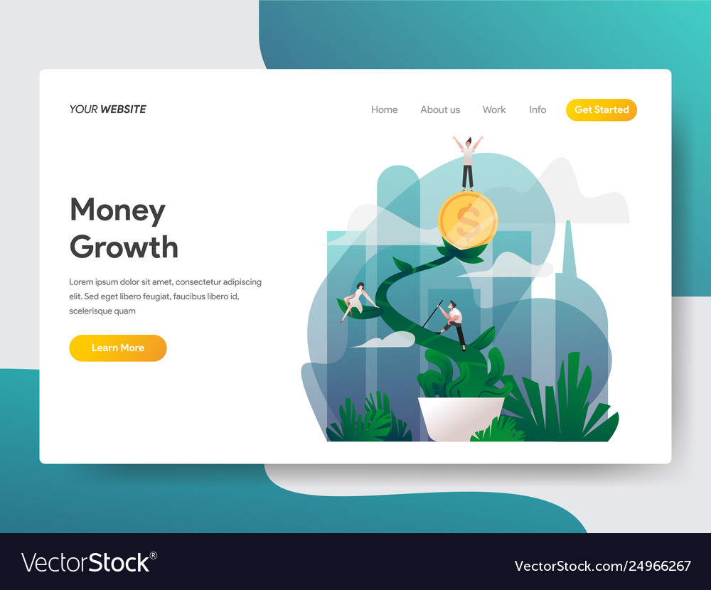 Landing page template money growth concept