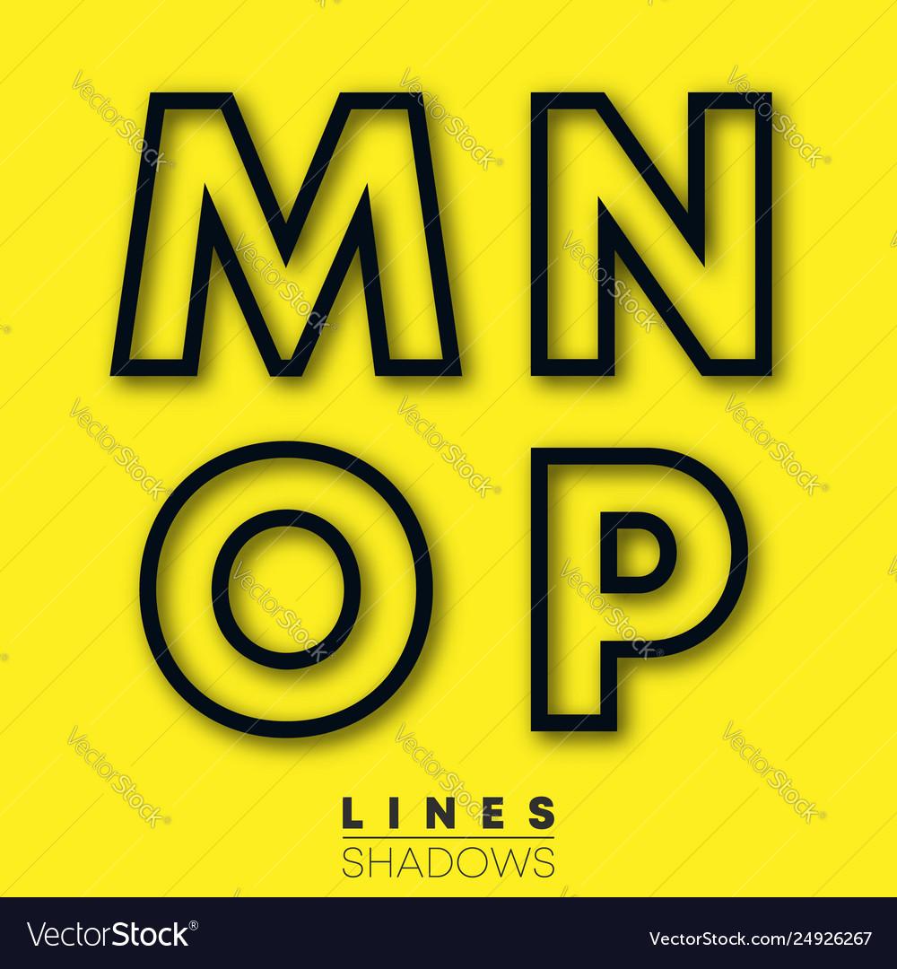 Letters linear design set letter m n o p