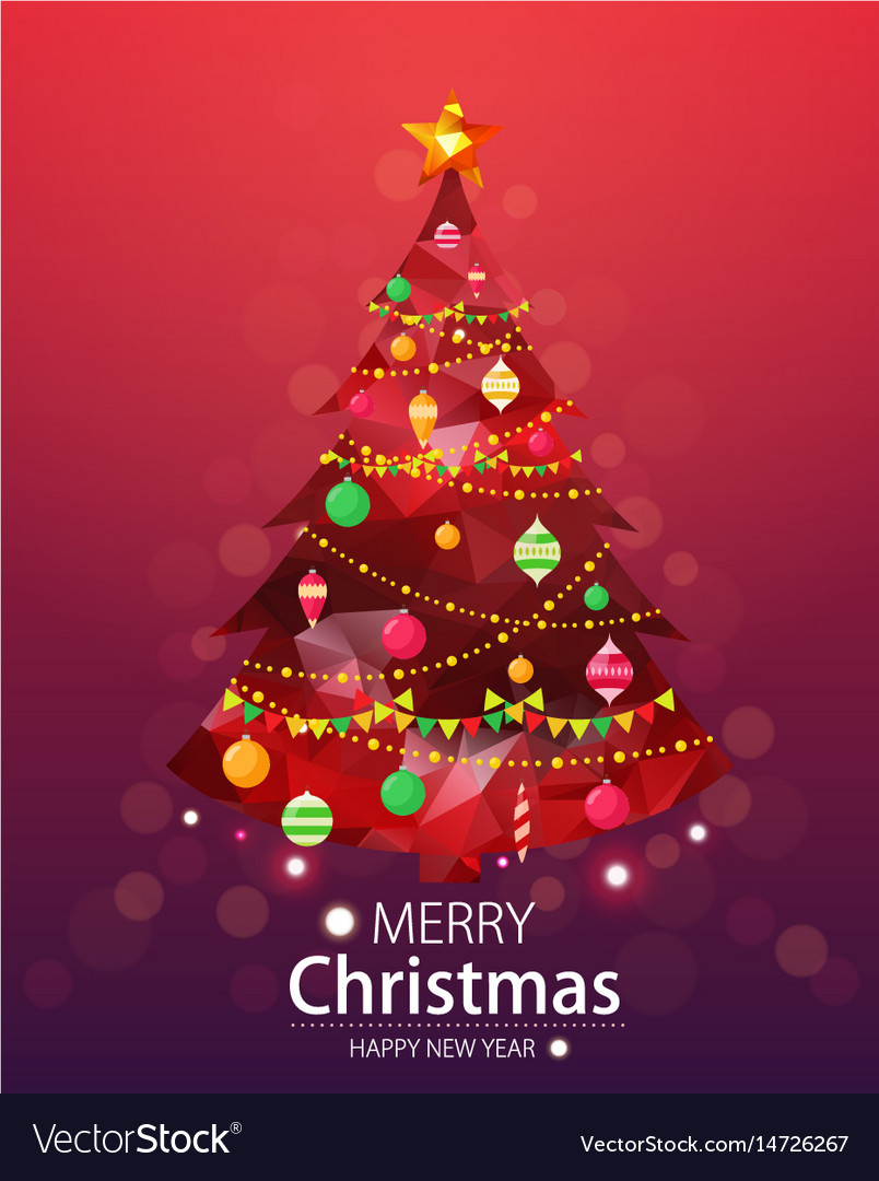 Merry Christmas Lights.Merry Christmas And Happy New Year Red Background
