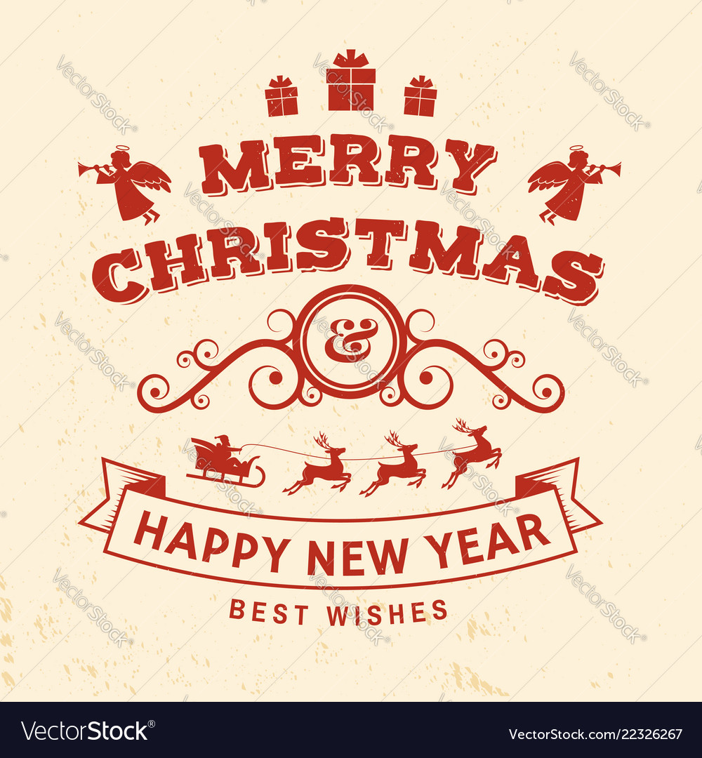 Merry christmas and happy new year stamp sticker