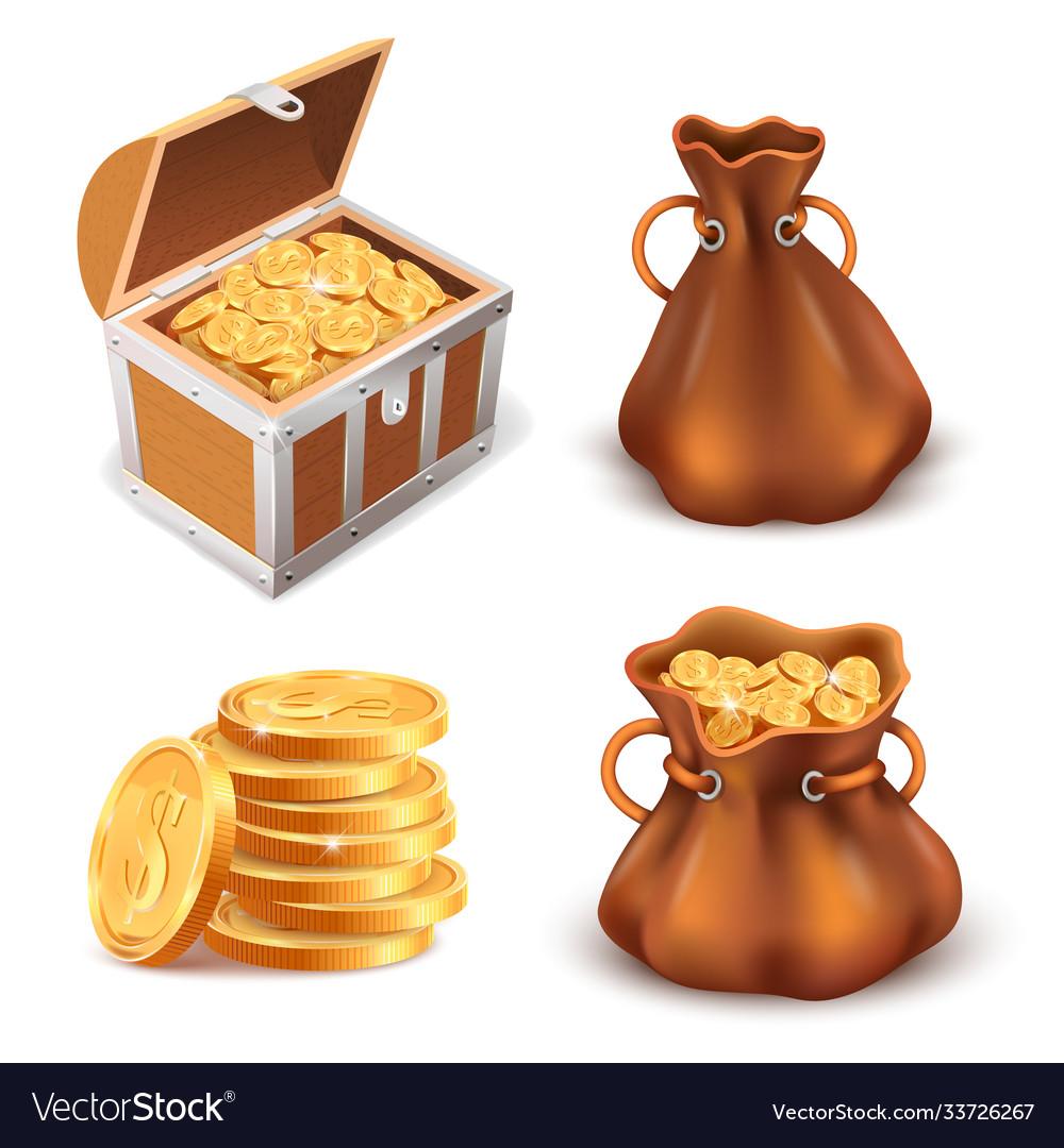 Realistic golden treasure coins stack wooden