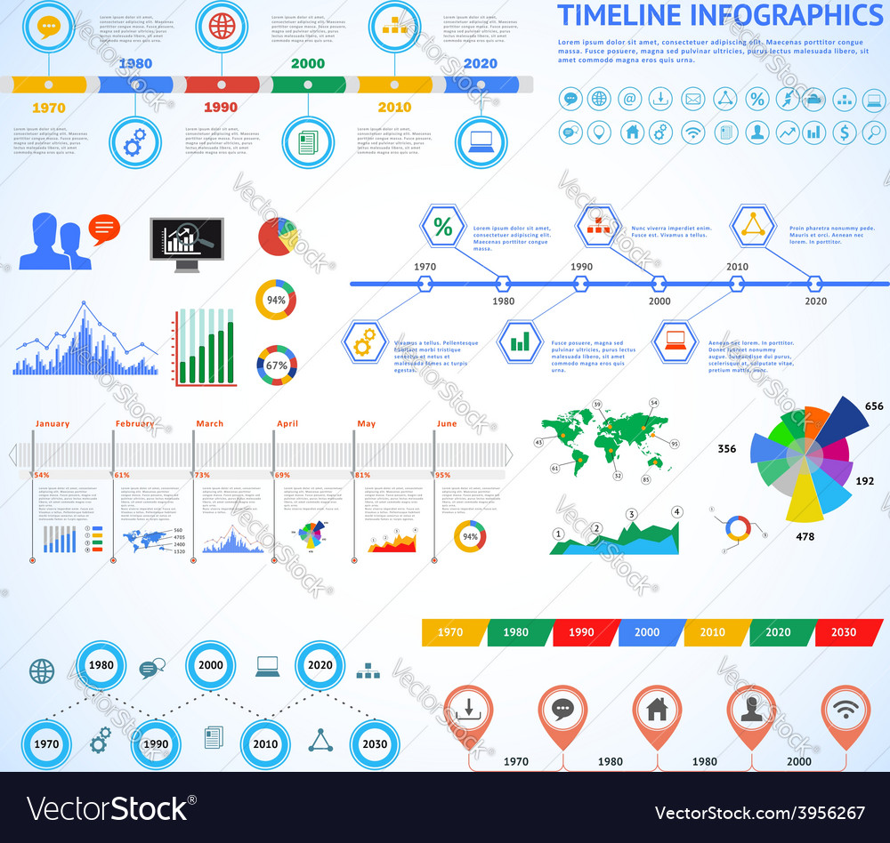 Set of timeline Infographic with diagrams and text