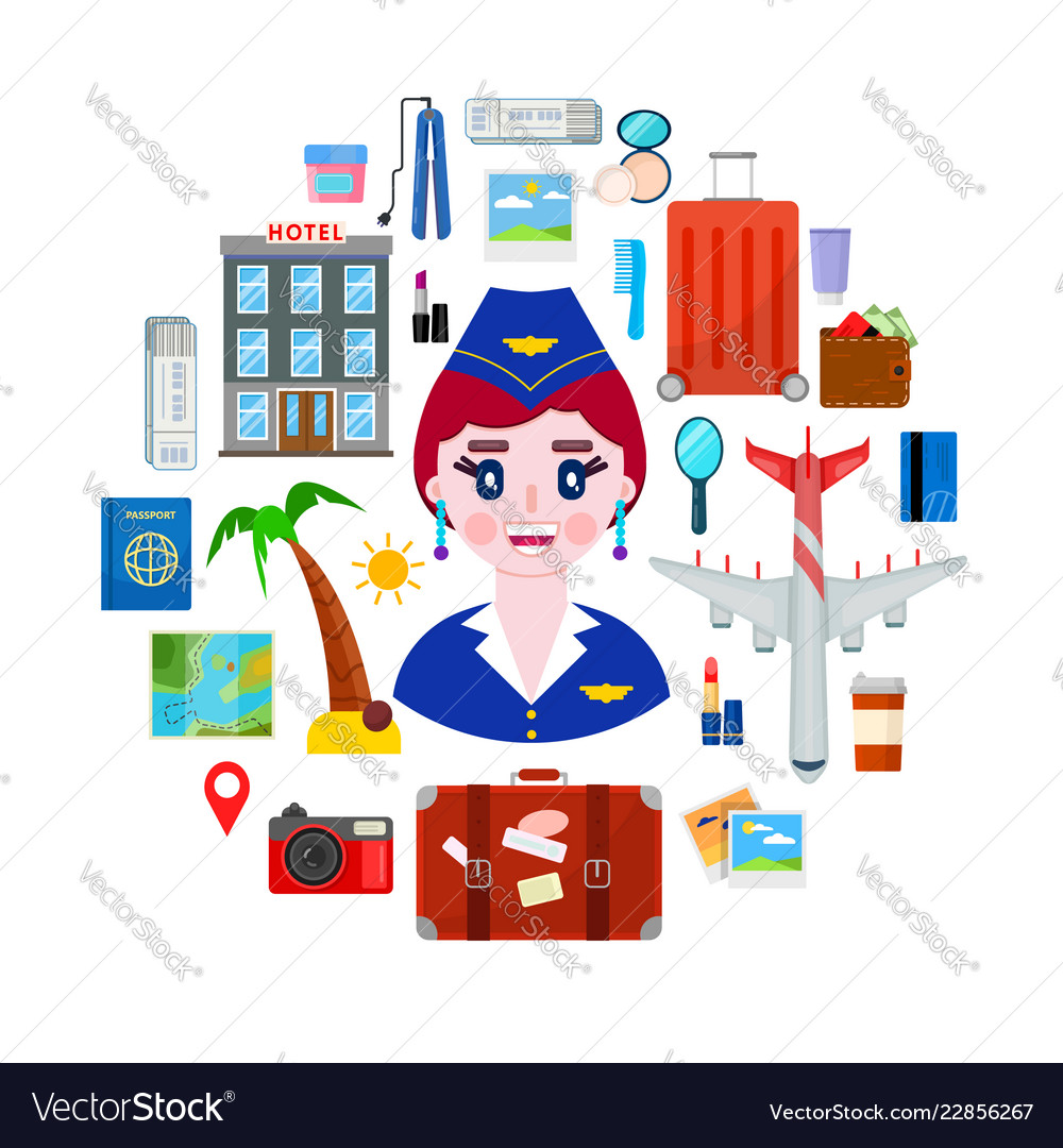 Stewardess and travel objects