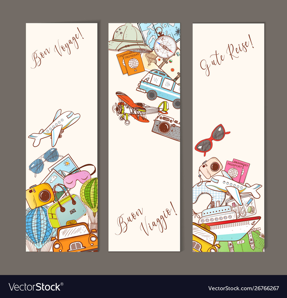Three banners with colorful cartoon travel doodles