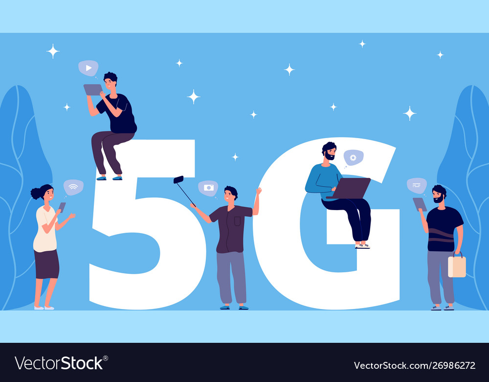 5g concept flat tiny people with phones and