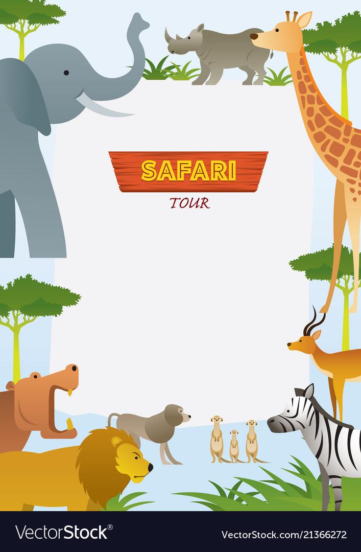 African safari animals frame Royalty Free Vector Image