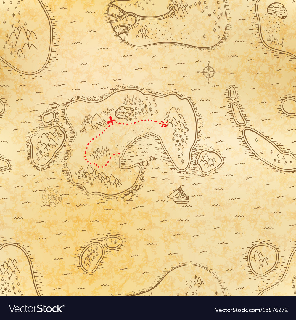 Ancient pirate map on old paper with red path to vector image