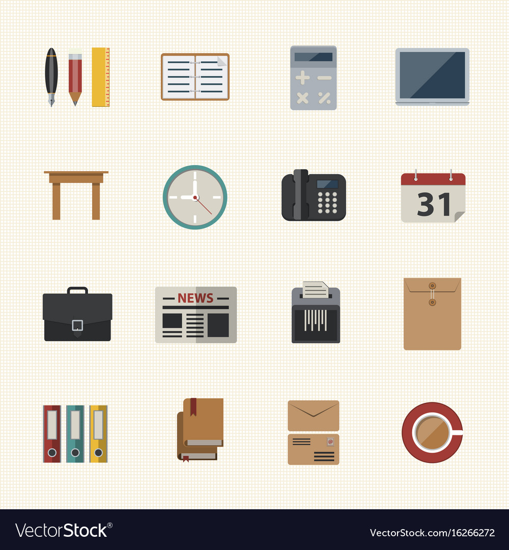 Business and office icon flat icons set for