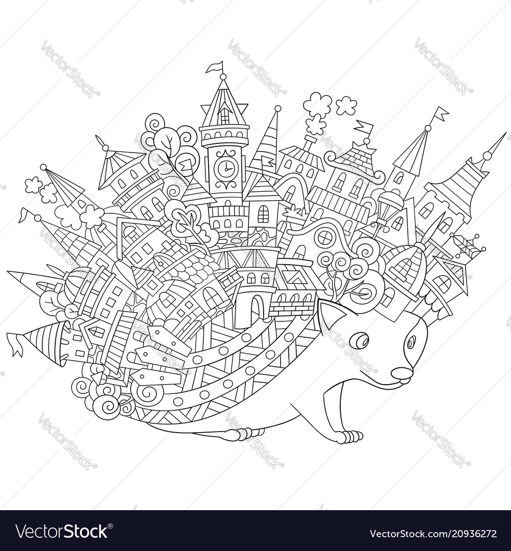 Fantasy hedgehog coloring page
