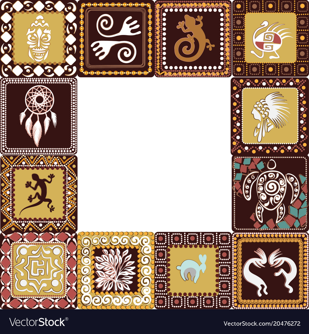 Frame with imitation of elements of rock art Vector Image