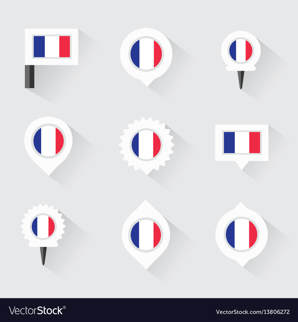 France Flag And Pins For Infographic And Map Vector Image - Flag pins for maps