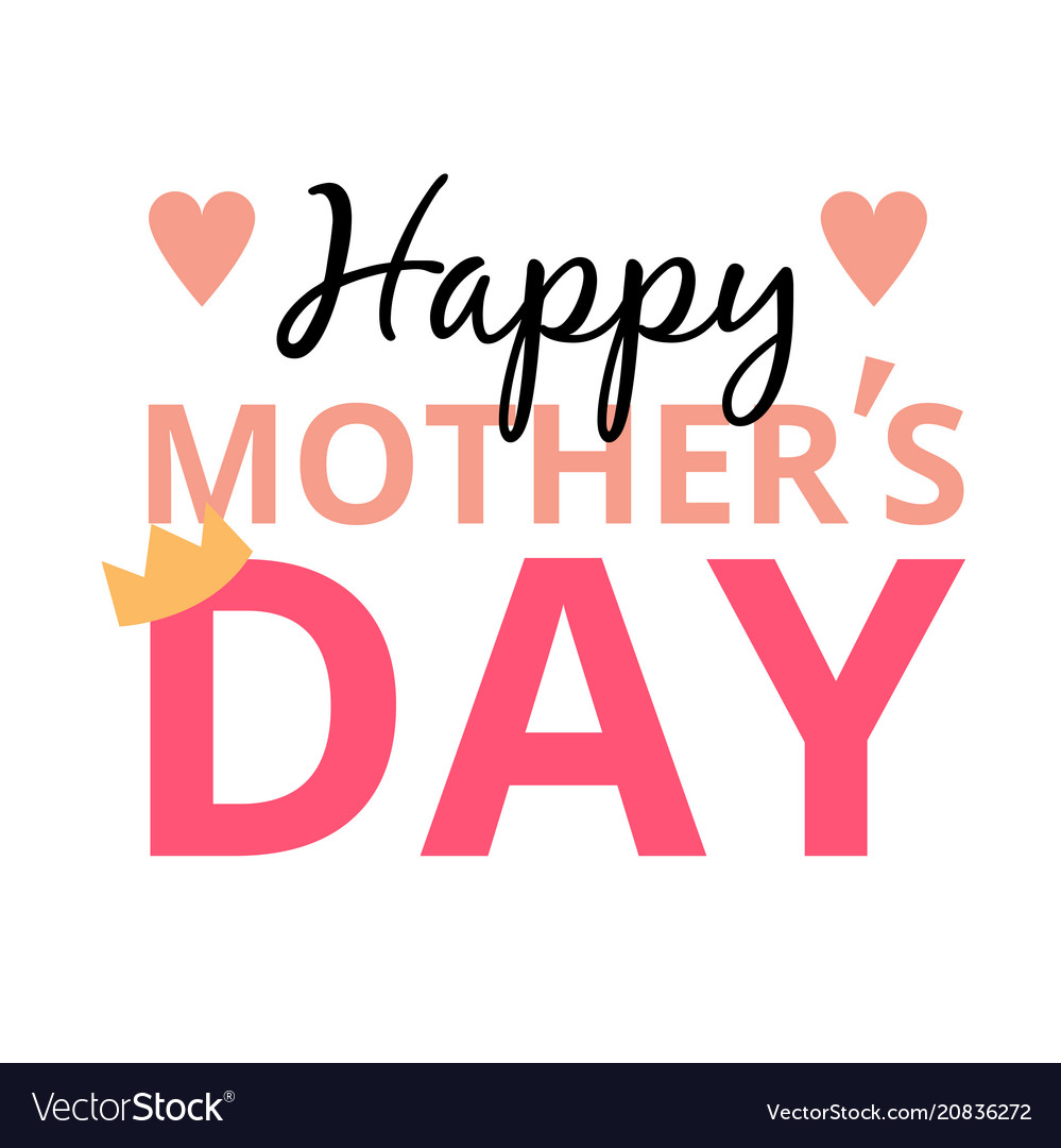 Happy mother day mini heart crown background vec