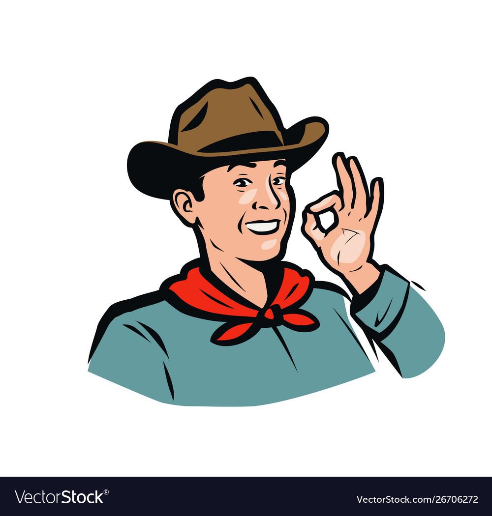 Portrait a happy american cowboy