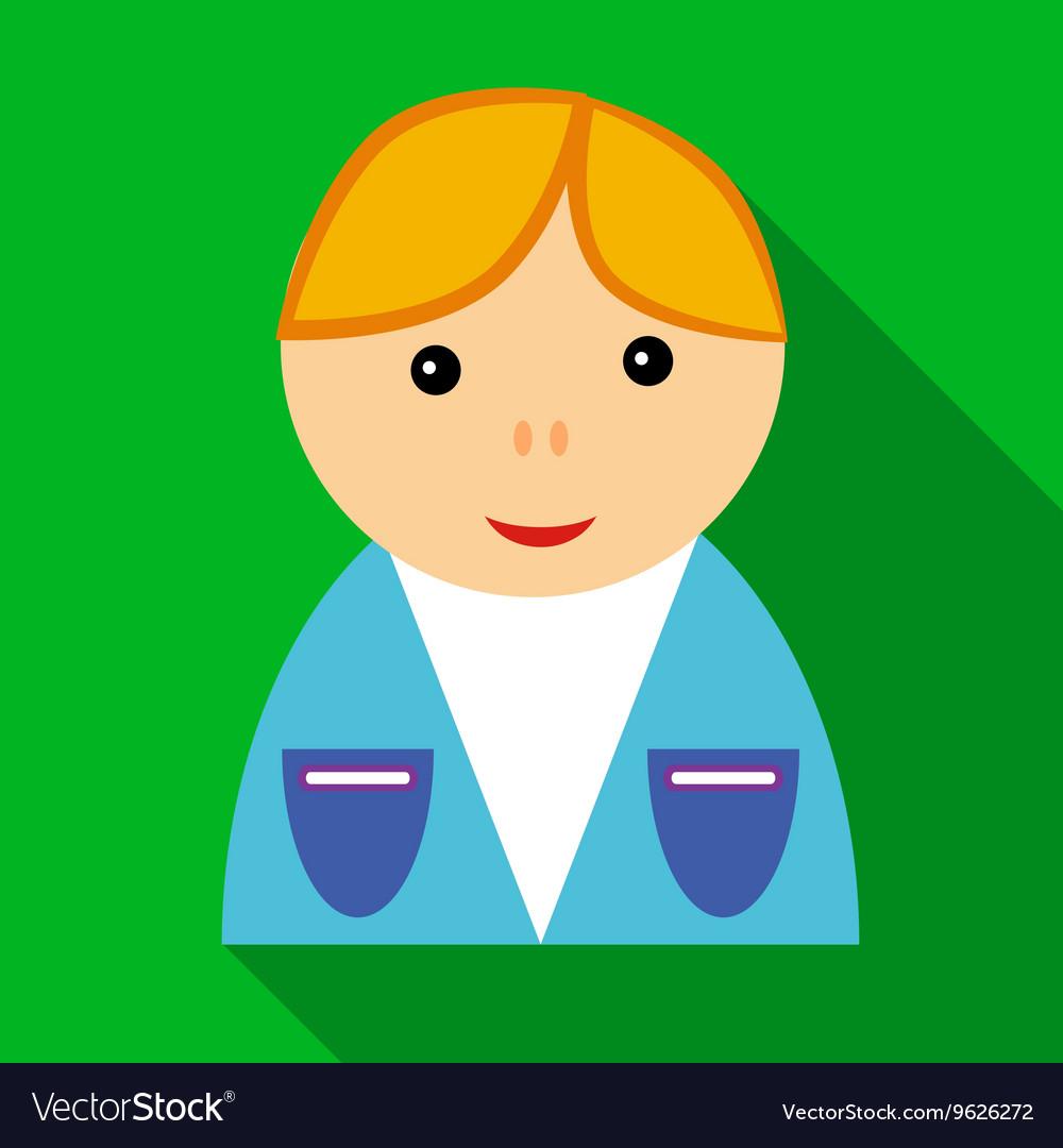 School boy in uniform icon flat style