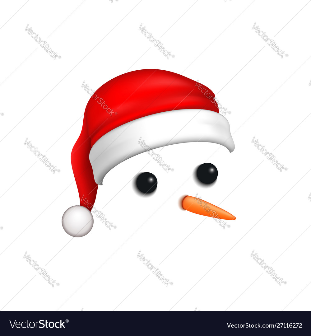Snowman face 3d realistic snowman isolated white