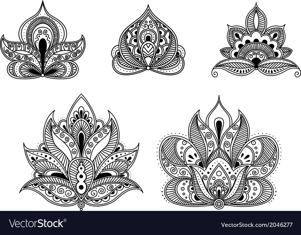 Abstract floral patterns in persian style vector image