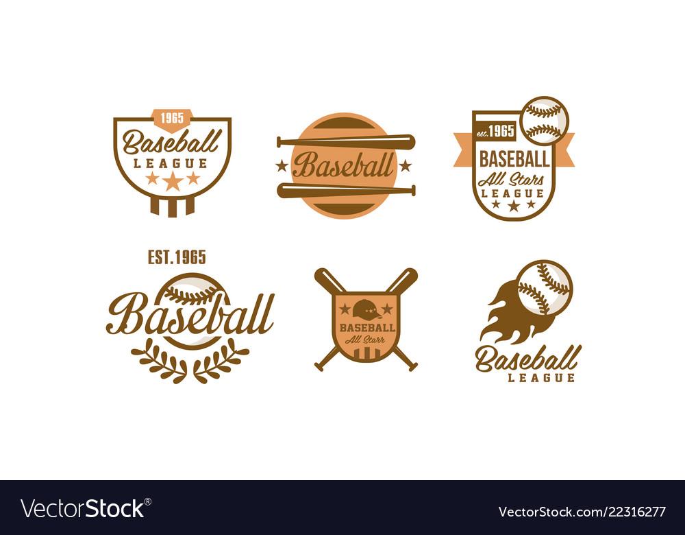 Baseball logo set retro emblems baseball