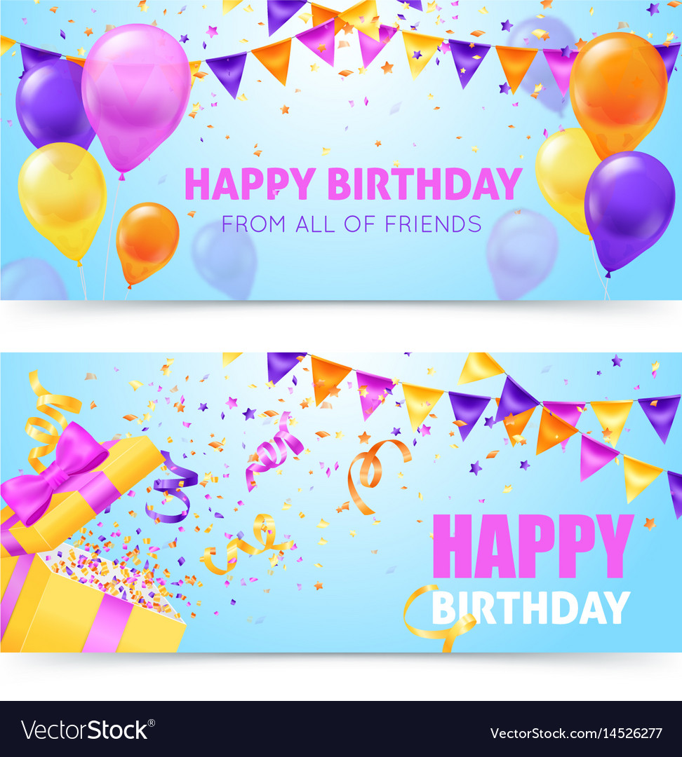 Birthday party banners vector image