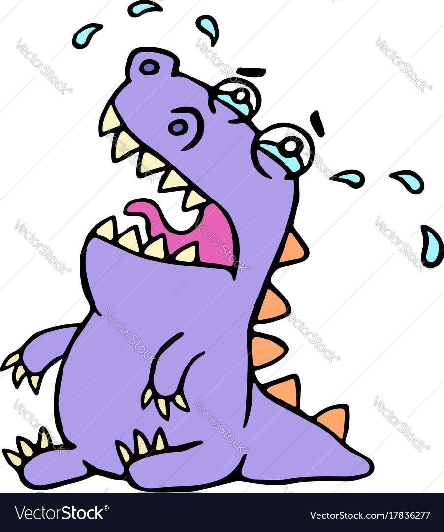 Cartoon sad purple croc vector image