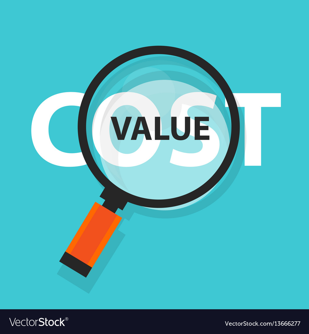 Cost value concept business magnifying word focus