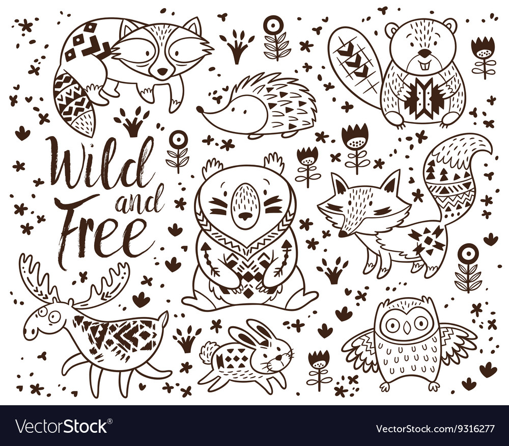 Decorative ornamental woodland animals set